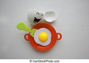 huevos, concepto, desenfrenado, cara