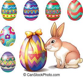 huevos, conejito de pascua, colorido