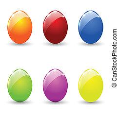 huevos, conjunto, pascua, aislado, colorido