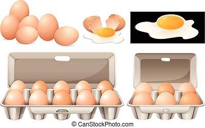 huevos crudos, paquetes, diferente