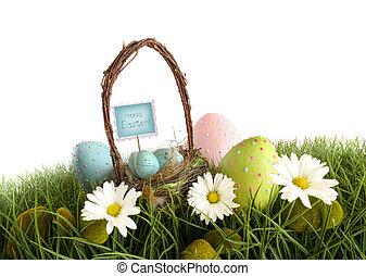 huevos de pascua, con, cesta, en, el, pasto o césped
