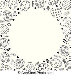 huevos de pascua, con, ornamentos, en, círculo, espacio, para, el, texto, blanco, plano de fondo