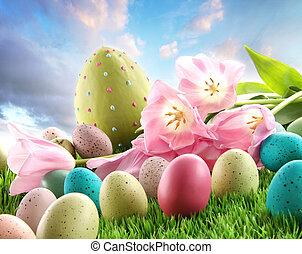 huevos de pascua, con, tulipanes, en, el, pasto o césped