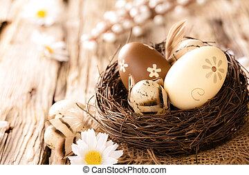 huevos de pascua, en, de madera, superficie