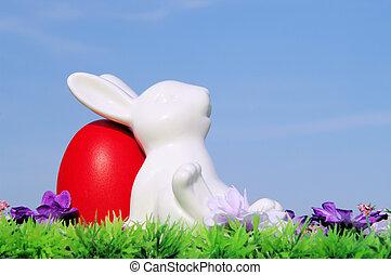 huevos de pascua, en, flor, pradera, y, cielo