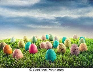 huevos de pascua, en, pasto o césped