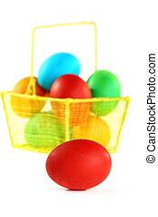huevos de pascua, en, un, blanco, fondo.