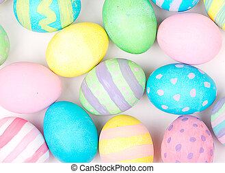 huevos de pascua, en, un, fondo blanco