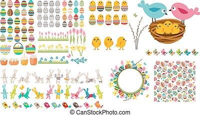 huevos de pascua, grande, aves, colección, conejos