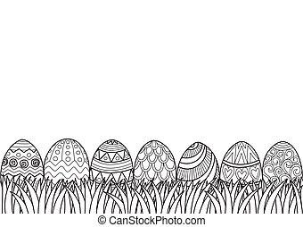 huevos de pascua, pasto o césped