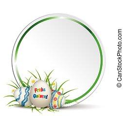 huevos de pascua, pasto o césped, con, flores, círculo,...