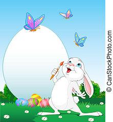 huevos de pascua, pintura, conejito