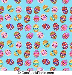 huevos de pascua, plano de fondo, seamless, ilustración