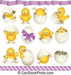 huevos de pascua, polluelos