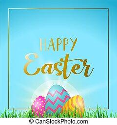huevos de pascua, tarjeta de felicitación, con, feliz, oro, texto