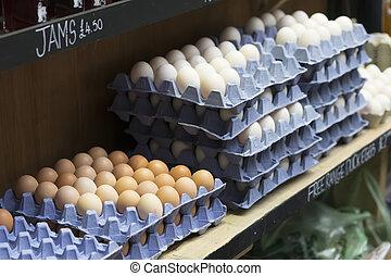 huevos, exhibición