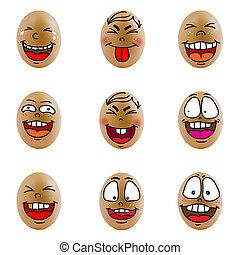 huevos, feliz, Colección, cara