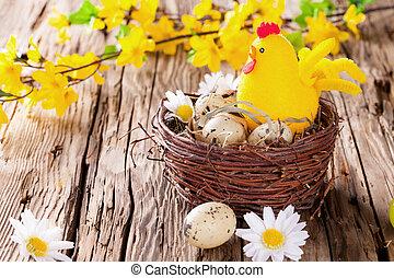 huevos, madera, Pascua, coloreado