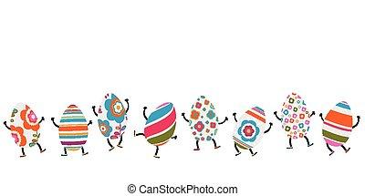huevos, pascua, caracteres