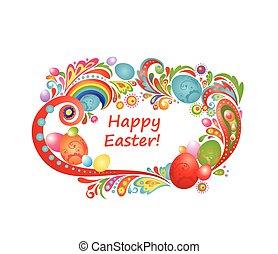 huevos, pascua, saludo, colorido, marco