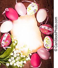 huevos, Pascua, tarjeta