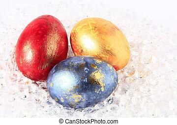 huevos, pascua, tres, coloreado