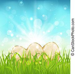 huevos, pasto o césped, Pascua, Plano de fondo