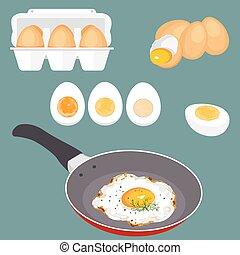 huevos, vector, conjunto, ilustración
