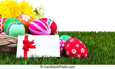 huevos, verde, cesta, fresco, pasto o césped, pascua, tarjeta