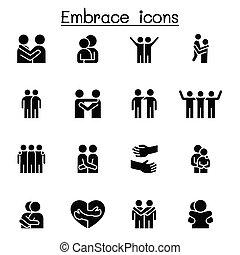 Hug, Embrace icon set vector illustration graphic design