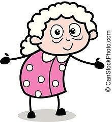 Hug Gesture - Old Cartoon Granny Vector Illustration