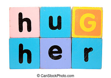 hug her in toy play block letters with clipping path on white