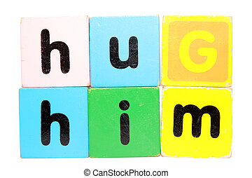 hug him in toy play block letters with clipping path on white