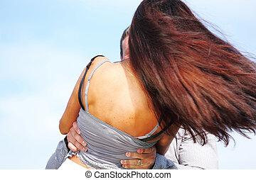 hug in sky