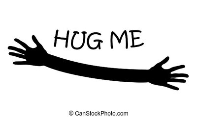 Hug me written above open arms and hands animation