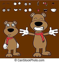 hug teddy bear cartoon expressions collection set
