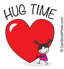 Hug time - a girl with a big heart Valentines day or other ...