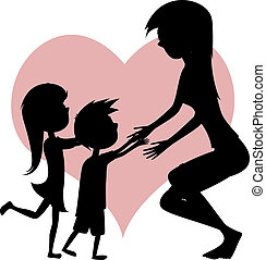Hug Your Mom! - Cartoon-style silhouettes with a little long...