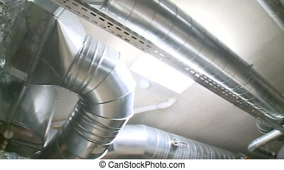 Huge air ducts tubes in passive house. Efficient ventilation...