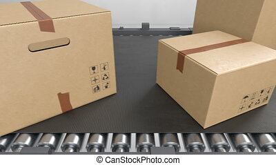 Huge Amount of Parcels Transporting on Conveyor Belt System Seamless. Beautiful Cardboard Boxes Moving in Warehouse Looped 3d Animation. Delivery Concept. 4k Ultra HD 3840x2160.
