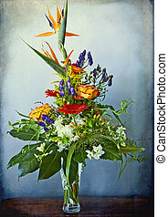 huge and elegant bouquet of bird of paradise and other mixed...