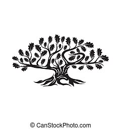 Huge and sacred oak tree silhouette logo isolated on white...