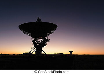 Huge antenna dish at Very Large Array - Sunrise Huge antenna...