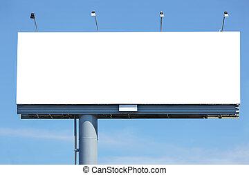 Huge blank billboard against blue sky for your design