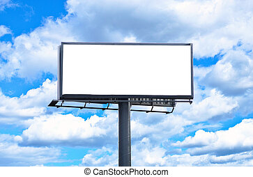 Huge blank billboard against bright blue sky