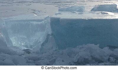 Huge blocks of ice. Beautiful winter Lake Baikal.