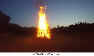 Huge campfire in a open place