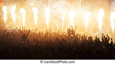 Huge cheering crowd at concert - Cheering crowd at concert...