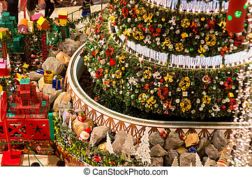 Huge christmas tree with presents and decorations. This is one of the centeral set pieces of chrismas