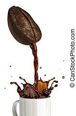 Huge coffee bean with hole pouring coffee into a mug...